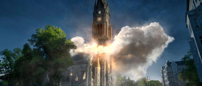 Bildkomposition, eine Kirchturm startet als Rakete