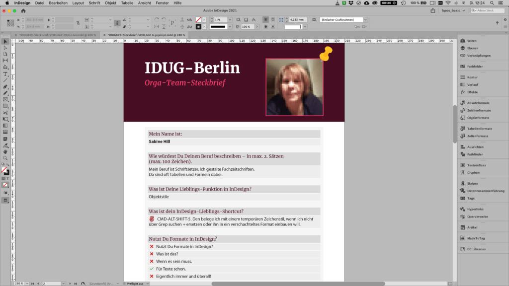 Bildschimfoto InDesign mit einen Steckbriefdokument