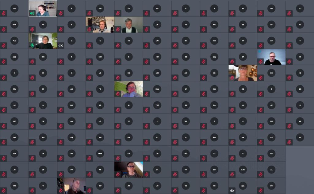 Bildschirmfoto Webmeeting-Fenster mit vielen kleinen Bildern