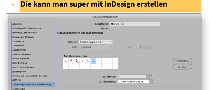 Bildschirmfote eine Liste in InDesign und die passende Einstellung in den Absatzformatoptionen
